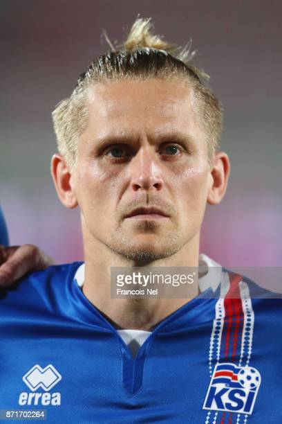 Ari Freyr Skulason of Iceland looks on prior to the international friendly match between Iceland and Czech Republic at Abdullah bin Khalifa Stadium...