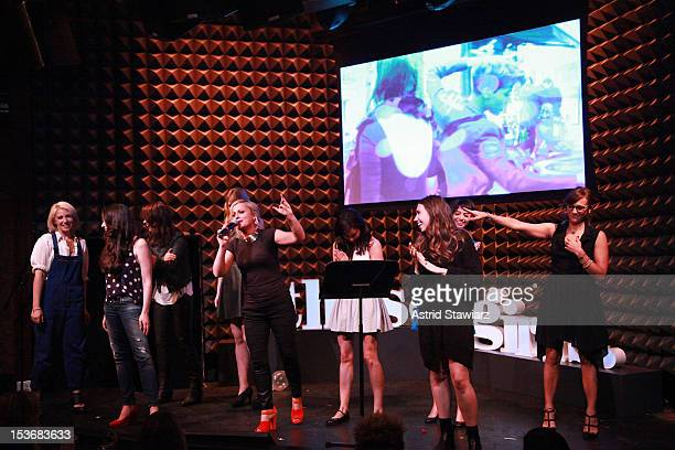 Ari Graynor Lauren Miller Olivia Wilde Riki Landhome Amy Poehler Aubrey Plaza Kate Micucci Zosia Mamet and Rashida Jones perform at Glamour Presents...