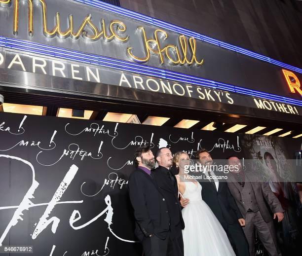 Ari Handel Darren Aronofsky Jennifer Lawrence Javier Bardem and Scott Franklin attend the New York premiere of 'mother' at Radio City Music Hall...