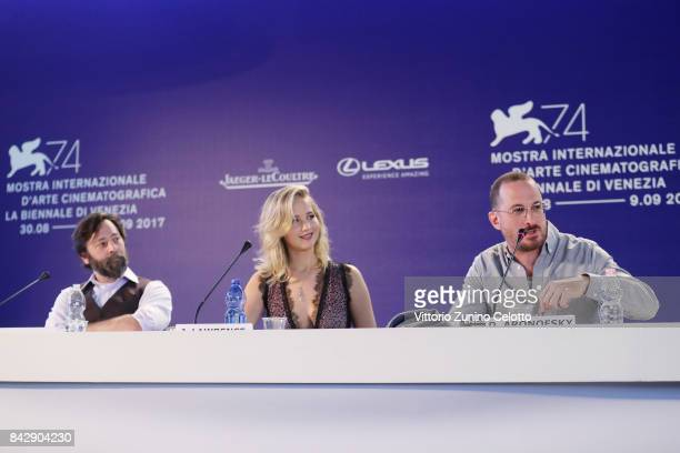 """Ari Handel Jennifer Lawrence and Darren Aronofsky attend the press conference and photo call for """"mother"""" during the 74th Venice Film Festival at..."""