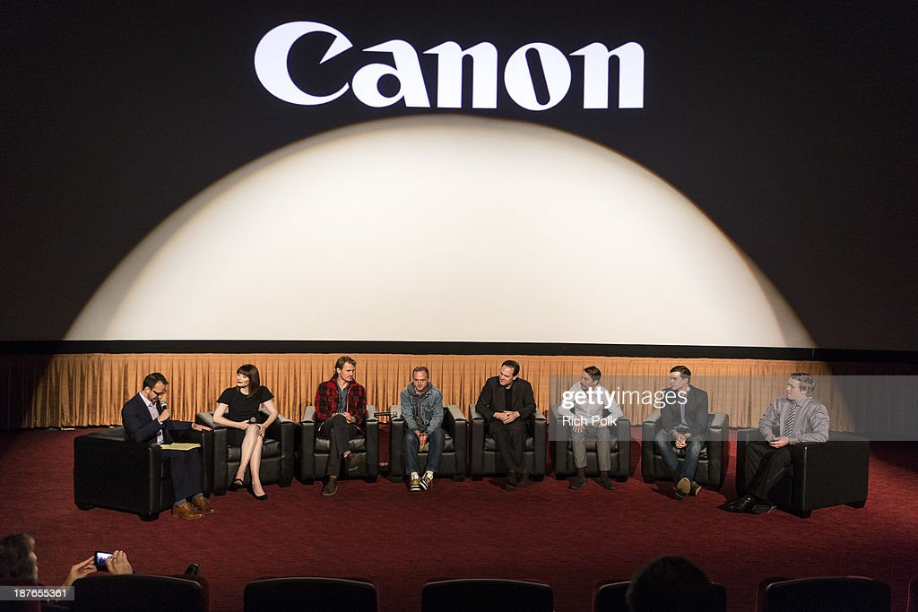 Ari Karpel, Bryce Dallas Howard, Josh Pence, Andrew Wheeler, Kalman Apple, Ronnie Allman, Jared Nelson, and Arrius Sobonne at Canon's Los Angeles Screening Of The Project Imaginat10n Film Festival at Pacific Theaters at the Grove on November 7, 2013 in Los Angeles, California.