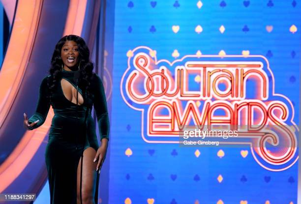 Ari Lennox speaks during the 2019 Soul Train Awards at the Orleans Arena on November 17 2019 in Las Vegas Nevada
