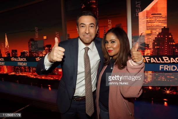 Ari Melber and Angela Yee attend Ari Melber visits the Breakfast Club with DJ Envy Angela Yee Charlamagne tha God at MSNBC Studios on February 14...