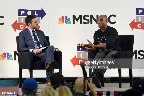 Ari Melber and Charlamagne tha God at the 'MSNBC Hip Hop And Politics' panel during Politicon at Pasadena Convention Center on July 30 2017 in...