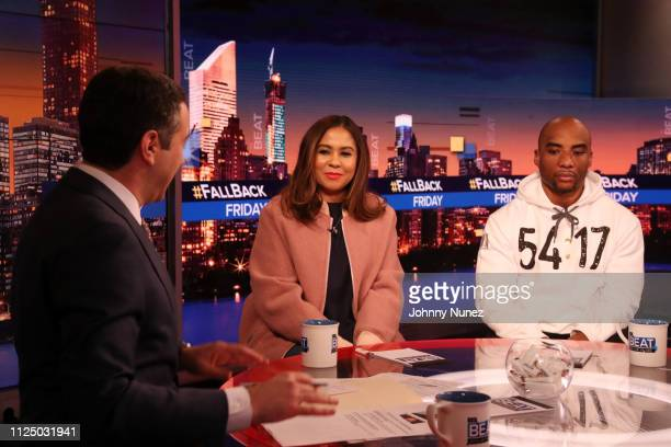 Ari Melber Angela Yee and Charlamagne tha God attend Ari Melber visits the Breakfast Club with DJ Envy Angela Yee Charlamagne tha God at MSNBC...