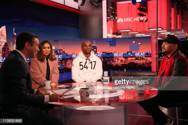 Ari Melber Angela Yee Charlamagne tha God and DJ Envy attend Ari Melber visits the Breakfast Club with DJ Envy Angela Yee Charlamagne tha God at...