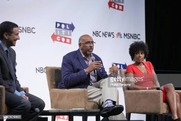 Ari Melber Michael Steele and Zerlina Maxwell speak onstage during Politicon 2018 at Los Angeles Convention Center on October 20 2018 in Los Angeles...