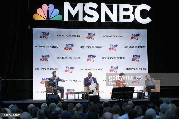 Ari Melber Michael Steele Zerlina Maxwell and James Carville speak onstage during Politicon 2018 at Los Angeles Convention Center on October 20 2018...