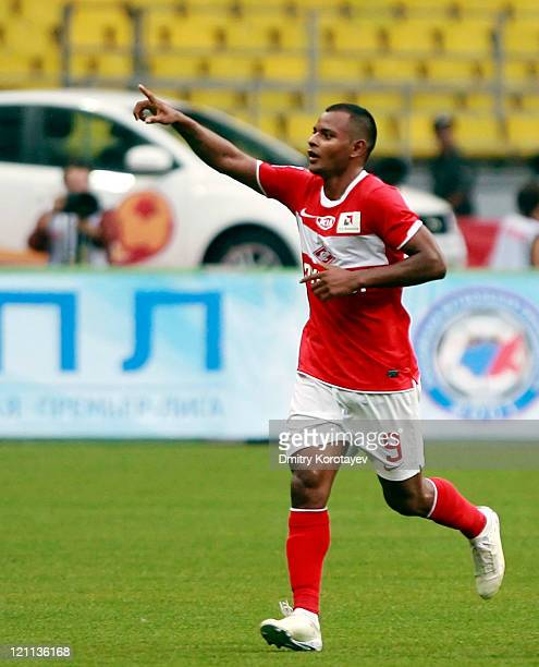 Ari of FC Spartak Moscow celebrates after scoring a goal during the Russian Football League Championship match between FC Spartak Moscow and FC Anzhi...