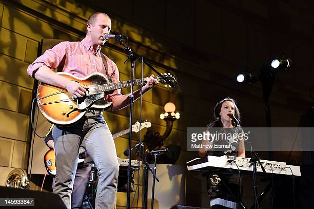 Ari Picker and Emma Nadeau of the folk band Lost in the Trees performing at the 11th Annual Jed Foundation Gala at Gotham Hall on June 7 2012 in New...