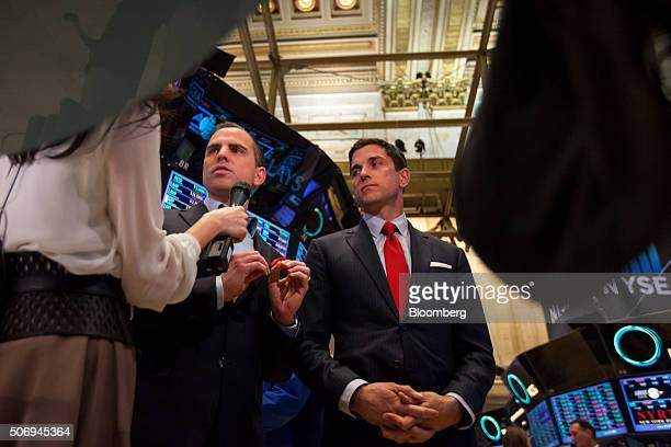 Ari Rubenstein chief executive officer and cofounder of Global Trading Systems LLC center speaks as Tom Farley president of NYSE Group Inc right...