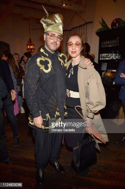 Ari Seth Cohen and Sonia Boyagian attend Liz Goldwyn and MATCHESFASHIONCOM celebrate the launch of Frieze LA at Gracias Madre on February 13 2019 in...