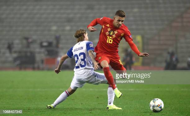 Ari Skulason and Thorgan Hazard fight for the ball during the UEFA Nations League A group two match between Belgium and Iceland at King Baudouin...