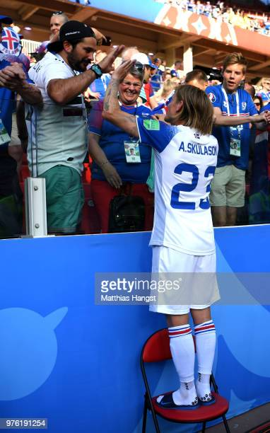 Ari Skulason of Iceland celebrates following the 2018 FIFA World Cup Russia group D match between Argentina and Iceland at Spartak Stadium on June 16...