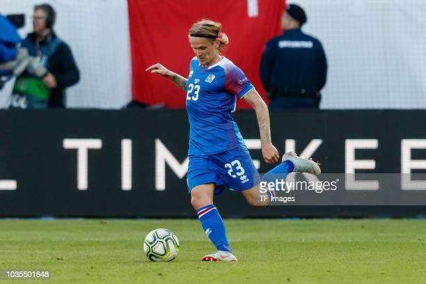 Ari Skulason of Iceland controls the ball during the UEFA Nations League A group two match between Switzerland and Iceland at Kybunpark on September...