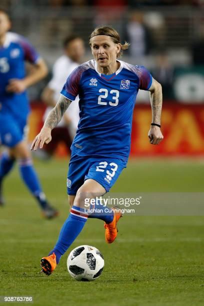 Ari Skulason of Iceland controls the ball during their match against Mexico Levi's Stadium on March 23 2018 in Santa Clara California