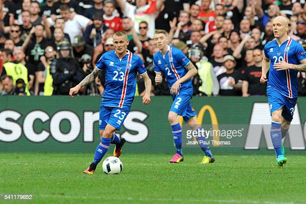 Ari SKULASON of Iceland during the UEFA EURO 2016 Group F match between Iceland and Hungary at Stade Velodrome on June 18 2016 in Marseille France