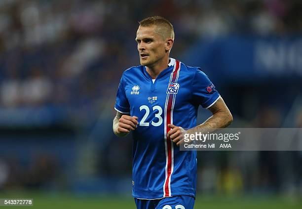 Ari Skulason of Iceland during the UEFA EURO 2016 Round of 16 match between England and Iceland at Allianz Riviera Stadium on June 27 2016 in Nice...