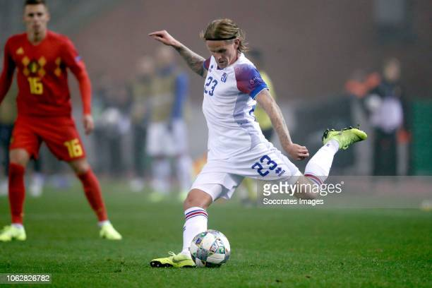 Ari Skulason of Iceland during the UEFA Nations league match between Belgium v Iceland at the Koning Boudewijn Stadium on November 15 2018 in Brussel