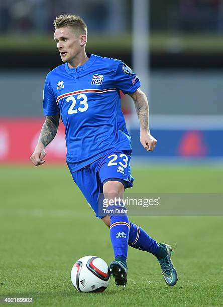 Ari Skulason of Iceland in action during the UEFA EURO 2016 Qualifier match between Iceland and Latvia at Laugardalsvollur National Stadium on...