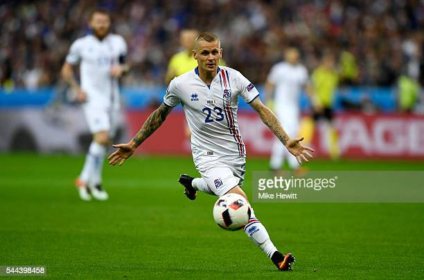 Ari Skulason of Iceland in action during the UEFA EURO 2016 quarter final match between France and Iceland at Stade de France on July 3 2016 in Paris...