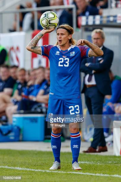Ari Skulason of Iceland in action during the UEFA Nations League A group two match between Switzerland and Iceland at Kybunpark on September 8 2018...