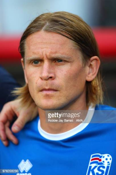 Ari Skulason of Iceland looks on from the bench prior to the 2018 FIFA World Cup Russia group D match between Argentina and Iceland at Spartak...