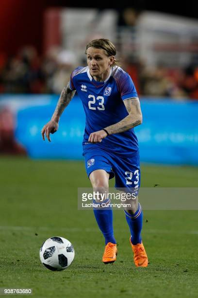 Ari Skulason of Iceland looks up field against Mexico during their match at Levi's Stadium on March 23 2018 in Santa Clara California