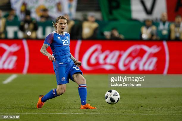 Ari Skulason of Iceland passes the ball against Mexico during their match at Levi's Stadium on March 23 2018 in Santa Clara California