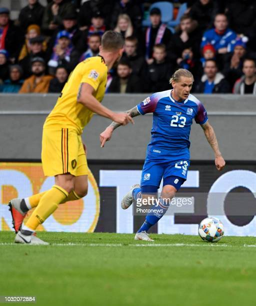Ari Skulason of Iceland pictured during the UEFA Nations League match between Iceland and Belgium on September 11 2018 in Reykjavik Iceland