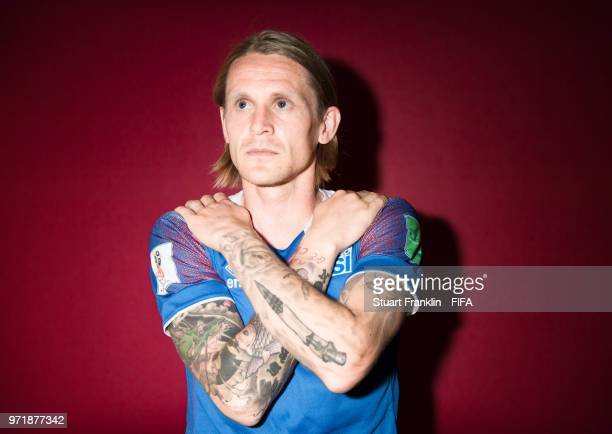 Ari Skulason of Iceland poses for a picture during the official FIFA World Cup 2018 portrait session at on June 11 2018 in Gelendzhik Russia
