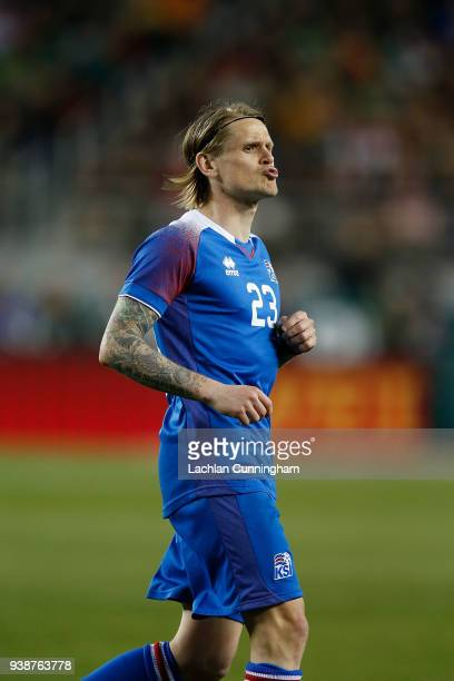 Ari Skulason of Iceland reacts after a missed shot at goal during their match against Mexico Levi's Stadium on March 23 2018 in Santa Clara California