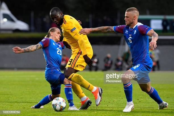 Ari Skulason of Iceland Romelu Lukaku forward of Belgium fights for the ball with Ragnar Sigurdsson of Iceland pictured during the UEFA Nations...