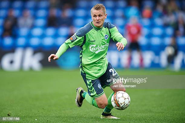 Ari Skulason of OB Odense controls the ball during the Danish Alka Superliga match between Esbjerg fB and OB Odense at Blue Water Arena on May 02...