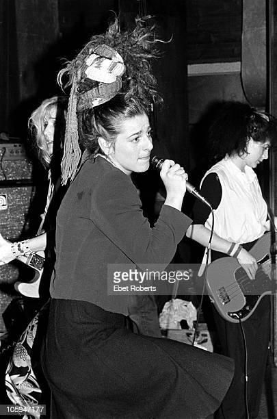 NEW YORK NOVEMBER 15 Ari Up and Tessa Pollitt of punk band the Slits perform on stage at Club 57 on November 15th 1980 in New York