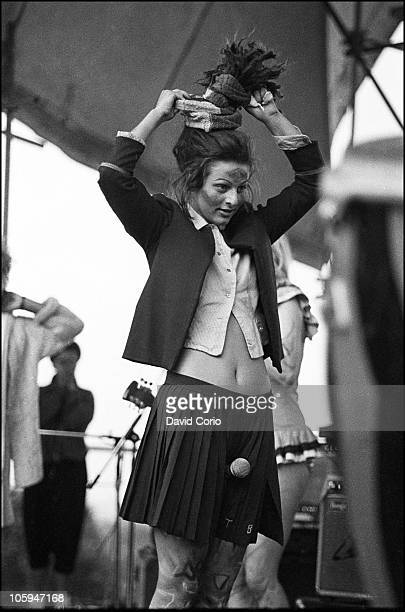 Ari Up of punk band The Slits performs on stage at Alexandra Palace on 16th June 1980 in London
