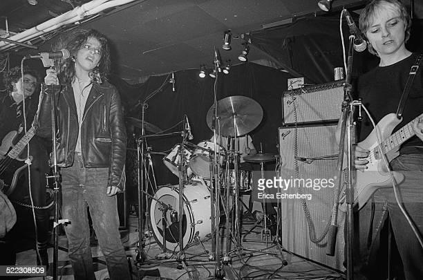 Ari Up Tessa Pollitt and Kate Korus of The Slits perform on stage at The Roxy London 1977