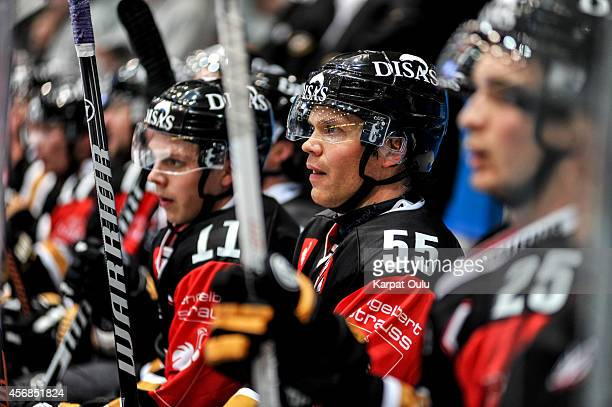 Ari Vallin and Markus Nutivaara of Karpat Oulu during the Champions Hockey League group stage game between Karpat Oulu and Bili Tygri Liberec on...