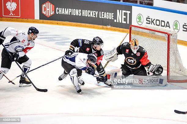 Ari Vallin of Karpat Oulu blocking Jan Vytisk of Bili Tygri Liberec during the Champions Hockey League group stage game between Karpat Oulu and Bili...