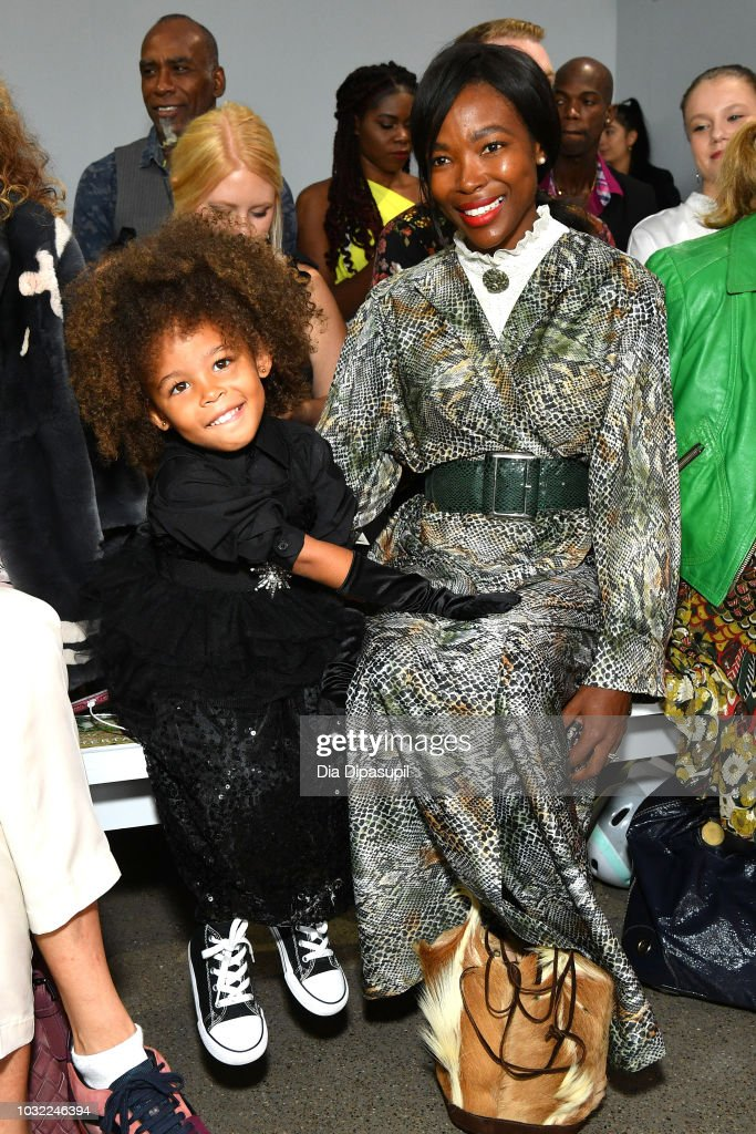 Aria De Chicchis (L) amd Pam Mbatani attend the Marcel Ostertag front Row during New York Fashion Week: The Shows at Gallery II at Spring Studios on September 12, 2018 in New York City.