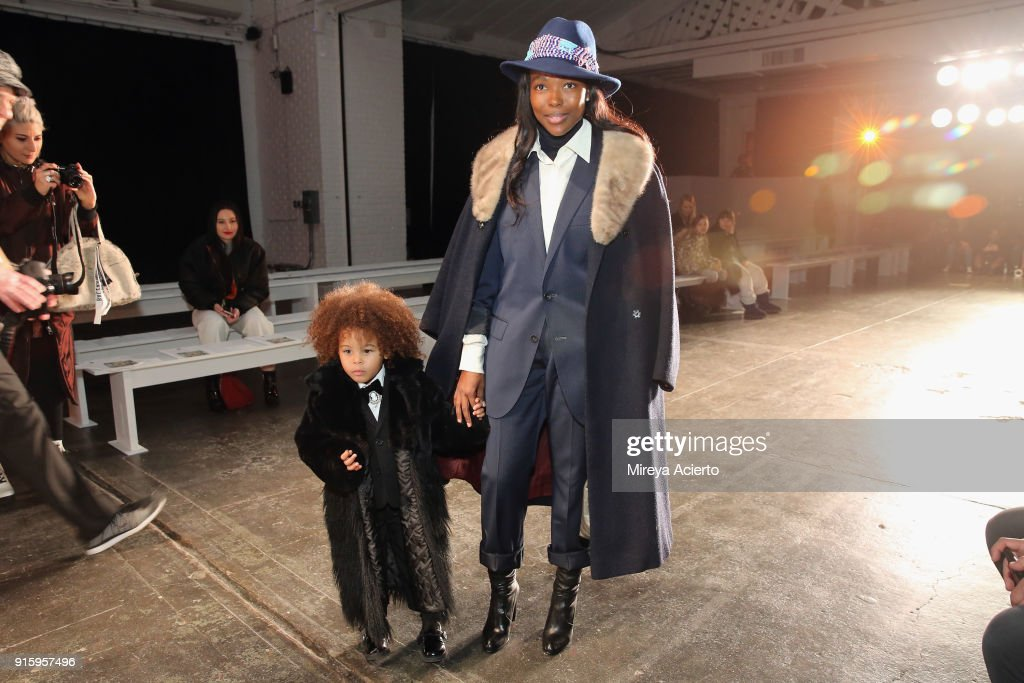 Aria De Chicchis (L) and Pam Mbatani attend the Ceremony: Xuly.Bet x Mimi Prober x Hogan McLaughlin front row during New York Fashion Week presented by First Stage at Industria Studios on February 8, 2018 in New York City.