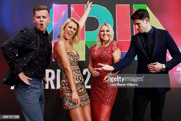 Aria hosts Joel Creasey Olivia Phyland Angela Bishop and Scott Tweedie pose on stage ahead of the ARIA Awards 2015 at The Star on November 26 2015 in...