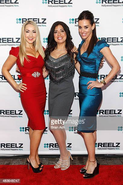 Aria Johnson Dominique Pinassi and Cory Oliver of Beverly Hills Pawn attend the REELZ Channel upfront presentation at Hudson Hotel on April 9 2014 in...