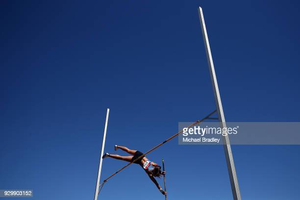 Aria Rhodes competes in the Under 20 Pole Vault during the New Zealand Track Field Championships on March 10 2018 in Hamilton New Zealand