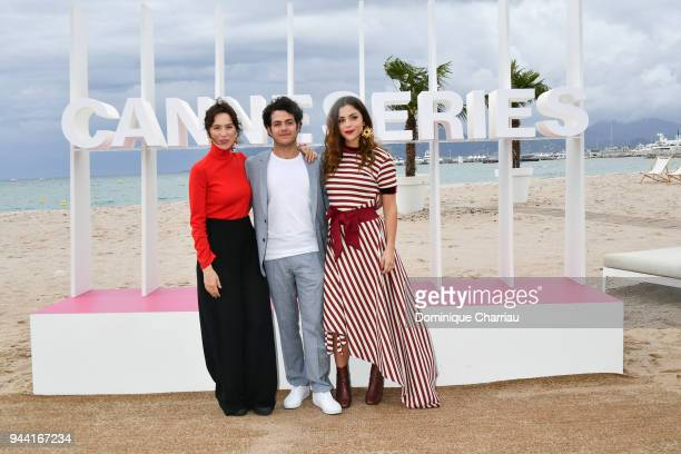 Ariadna Gil Alfonso Dosal and Paulina Davila attend 'Aqui En La Tierra' Photocall during the 1st Cannes International Series Festival on April 10...