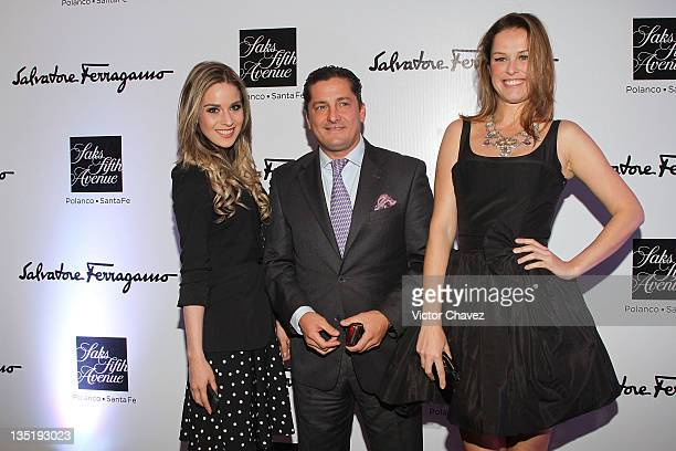 Ariadna Guinovart Alejandro Basteri and Andreia Fernandes attend the Salvatore Ferragamo 'Resort 2012' collection launch at Saks Fifth Avenue Plaza...