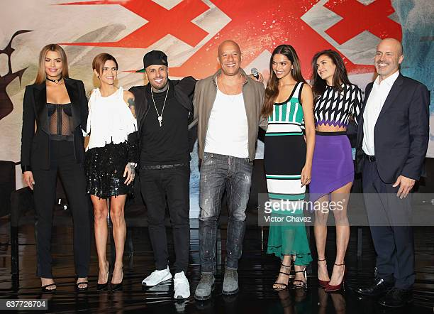 Ariadna Gutierrez Ruby Rose Nicky Jam Vin Diesel Deepika Padukone Nina Dobrev and Film director DJ Caruso attend a press conference to promote the...