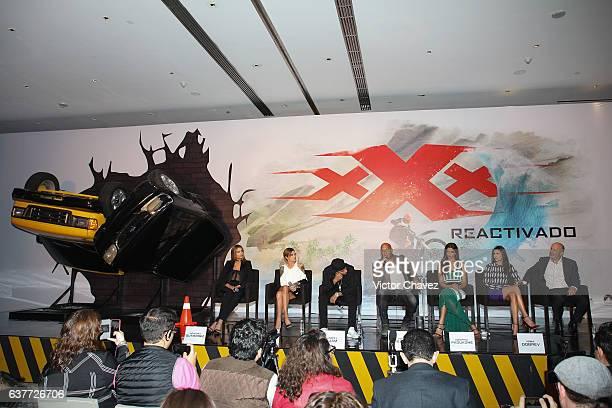Ariadna Gutierrez, Ruby Rose, Nicky Jam, Vin Diesel, Deepika Padukone, Nina Dobrev and Film director D.J. Caruso attend a press conference to promote...