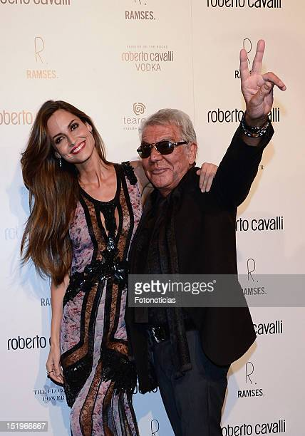 Ariadne Artiles and Roberto Cavalli attend the opening of 'Roberto Cavalli' boutique on September 13, 2012 in Madrid, Spain.