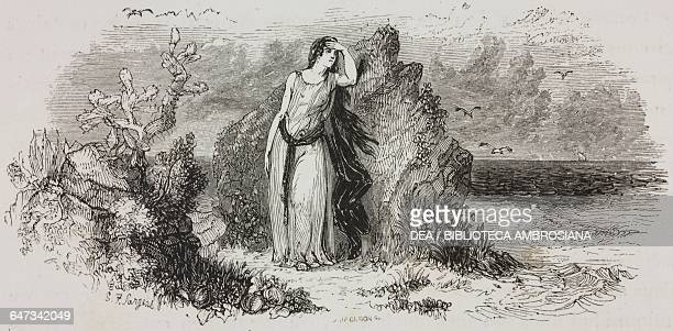 Ariadne at Naxos engraving from Greece Pictorial Descriptive and Historical by Christopher Wordsworth